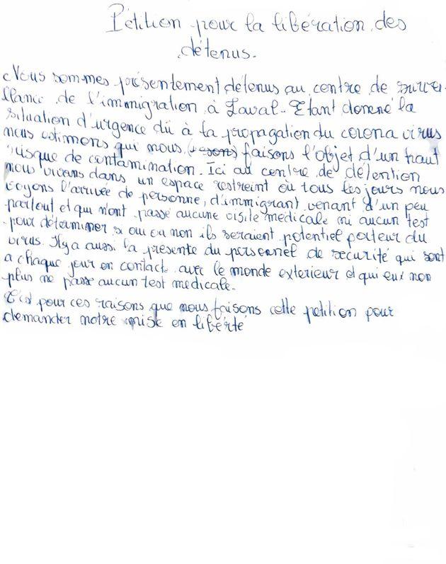 La pétition envoyée par des détenus du Centre de surveillance de l'immigration de...