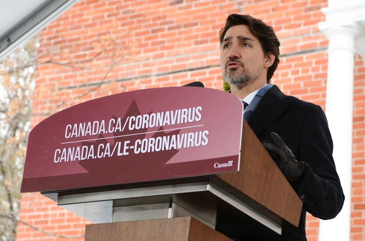 Prime Minister Justin Trudeau addresses media from Rideau Cottage in Ottawa on March 24, 2020.