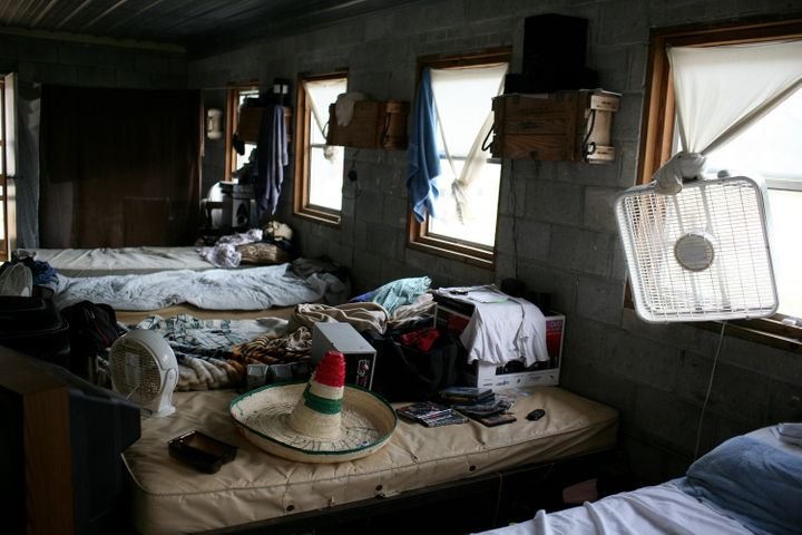 A migrant farmworkers' dorm room in central North Carolina. (Photo by Andrew Lichtenstein/Corbis via Getty Images)