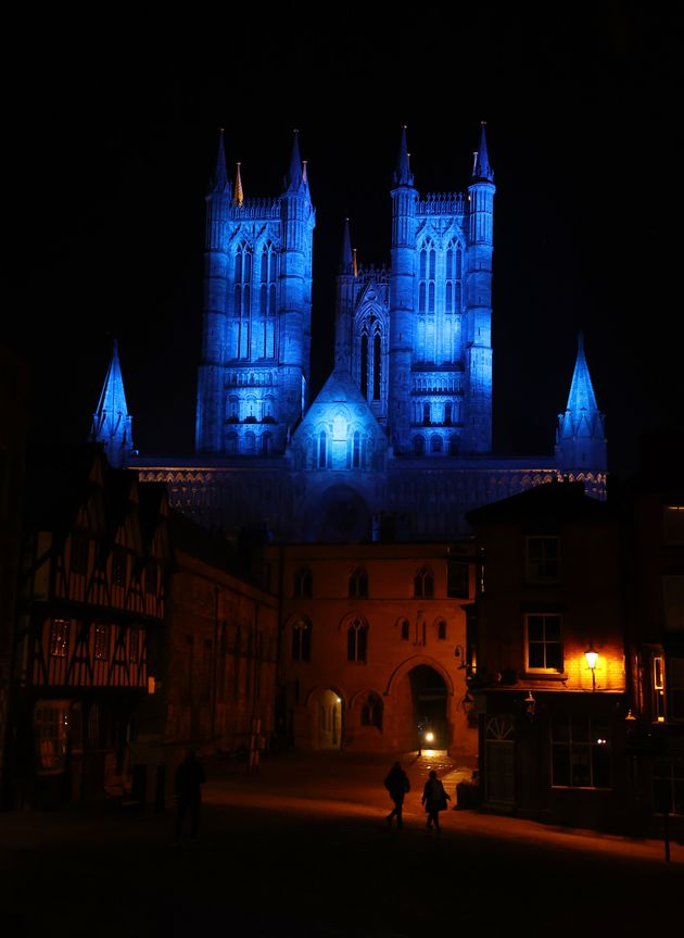 Lincoln Cathedral is lit up in blue in a gesture of thanks to the hardworking NHS staff who are trying...