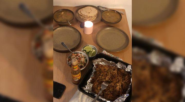 Joseph and his partner made carnita tacos together.