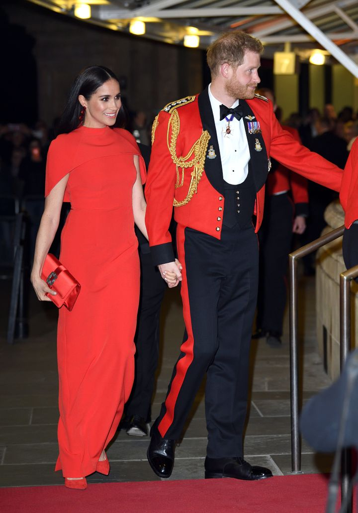 The Duke and Duchess of Sussex attend the Mountbatten Festival of Music at Royal Albert Hall on March 7 in London.