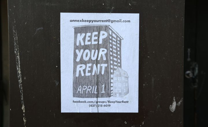 A poster in Toronto on March 24. With many not working there is a groundswell for free rent in April as only essential industries are open as the province shut down non-essential services and industries to help slow the spread of COVID-19.