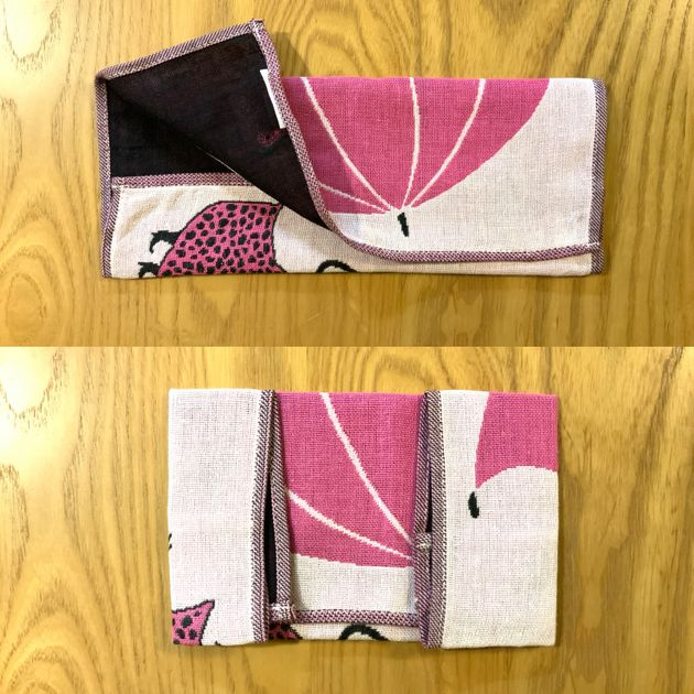 縦10センチ、横15センチになるように折り、アイロンをかけます。