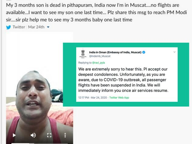 One of the tweets posted by Ravi Pyla and a response tweet from the Indian embassy in