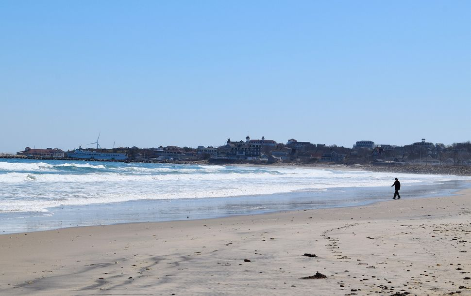 An empty Crescent Beach on Block Island on March 26.