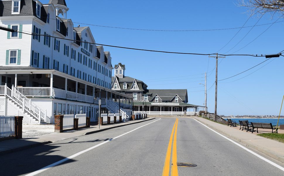 An empty Water Street is seen on Block Island on March 26.