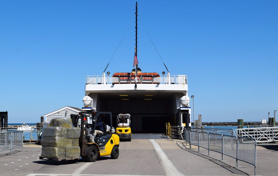 Supplies arrive via ferry to Block Island on March 26.