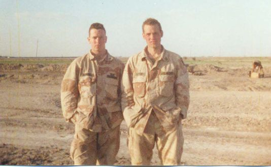 Scott W. Patton (right) with fellow soldier, Todd Renville, in the Euphrates River Valley, Iraq in 1991.