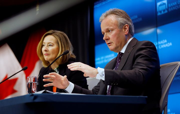 Bank of Canada Governor Stephen Poloz foreground, next to Senior Deputy Governor Carolyn Wilkins at a news conference in Ottawa, Jan. 22, 2020.