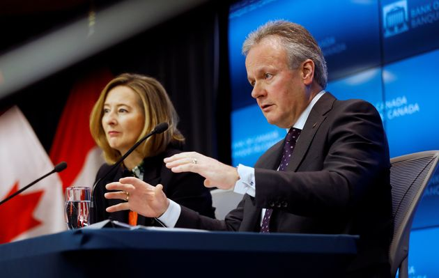 Bank of Canada Governor Stephen Poloz foreground, next to Senior Deputy Governor Carolyn Wilkins at a...