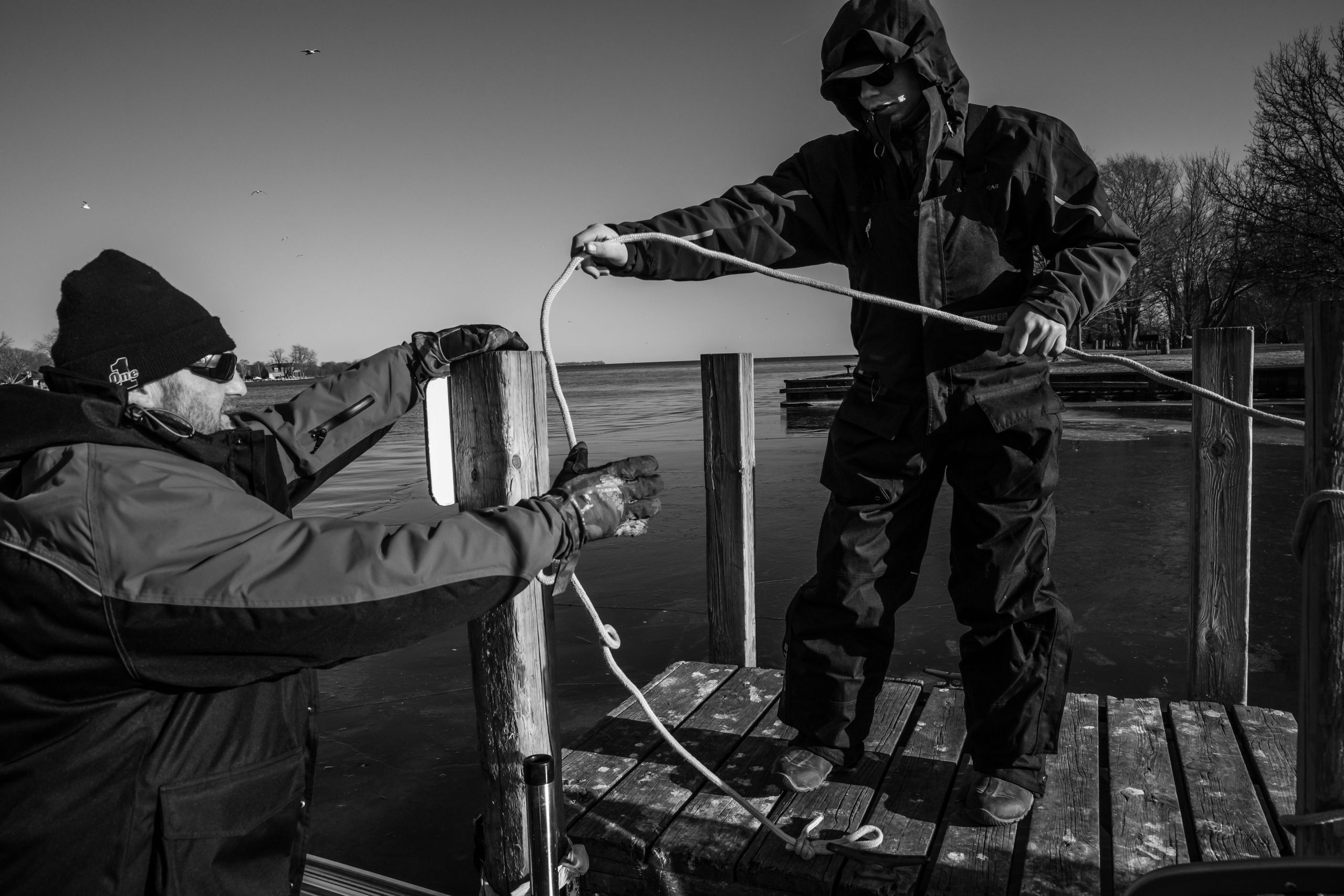George Cini Sr. and George Cini Jr. take their boat out to fish on the waters of Lake Erie on Feb. 22. The air is frigid, but