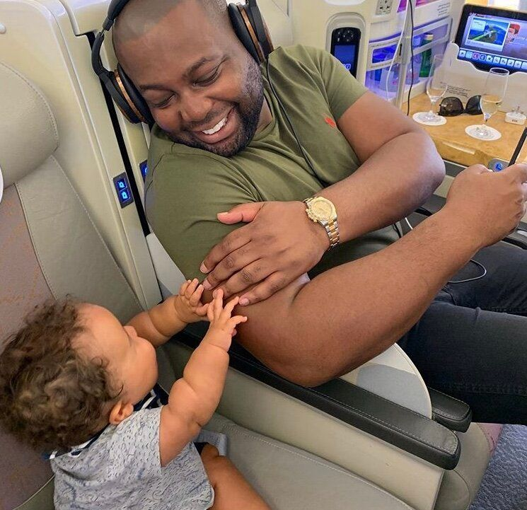 Dr Tijion Esho with his 15-month-old son Roman