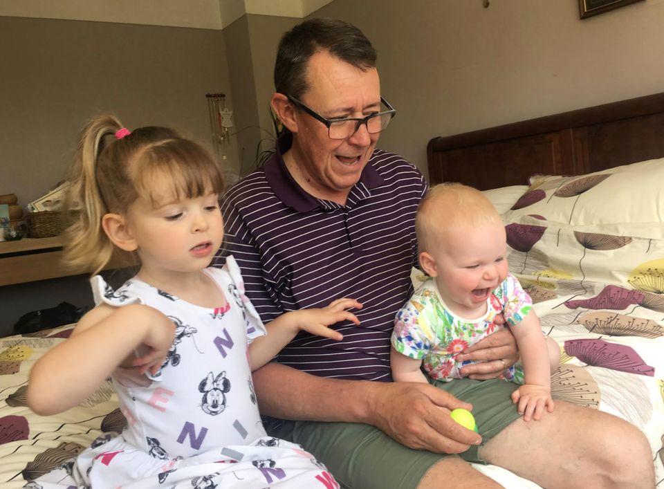 Graham Sabino enjoying retirement with his grandchildren