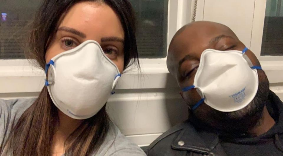 Dr Tijion Esho with his fiancee Laura visiting their son Roman when he was sick