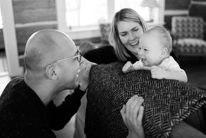 The author, her husband and their son.