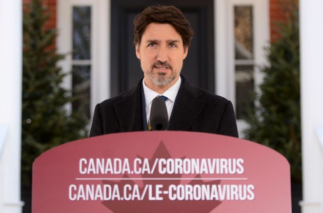 Prime Minister Justin Trudeau addresses Canadians on the COVID-19 pandemic from Rideau Cottage in Ottawa...