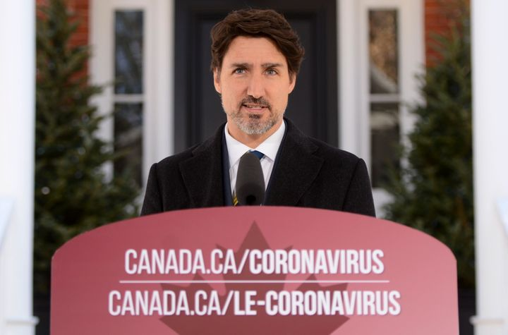 Prime Minister Justin Trudeau addresses Canadians on the COVID-19 pandemic from Rideau Cottage in Ottawa on March 27, 2020.