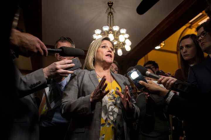 Ontario NDP leader Andrea Horwath speaks with media at Queen's Park.