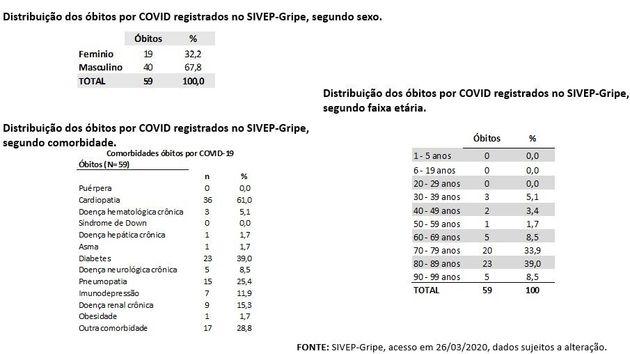 Dados sobre mortes de brasileiros por coronavírus de acordo com gênero, comorbidade e faixa