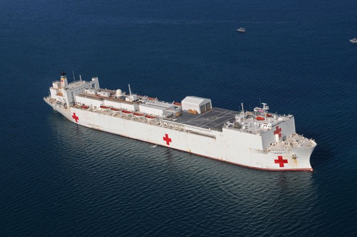 In this Jan. 20, 2010, file photo, the Military Sealift Command hospital ship USNS Comfort is anchored off the coast of Haiti