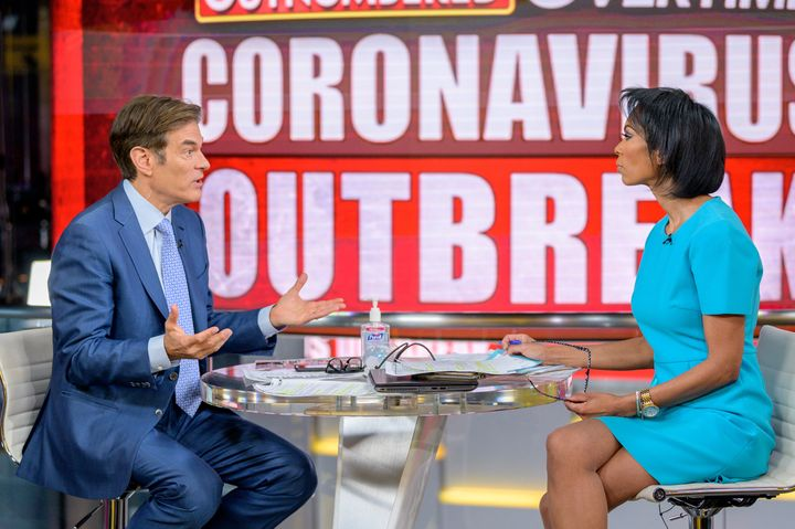 """Dr. Oz with host Harris Faulkner as he visits """"Outnumbered Overtime"""" on March 9, 2020, in New York City."""