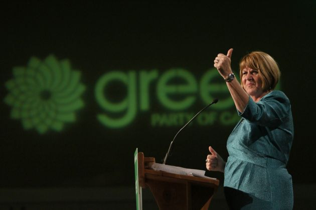 Jo-Ann Roberts gives a speech during election night at the Victoria Conference Centre in Victoria, B.C....