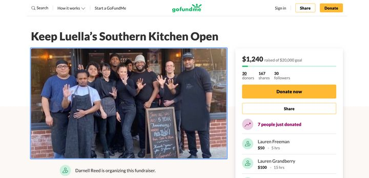Darnell Reed has set up a GoFundMe to help keep his restaurant in business.