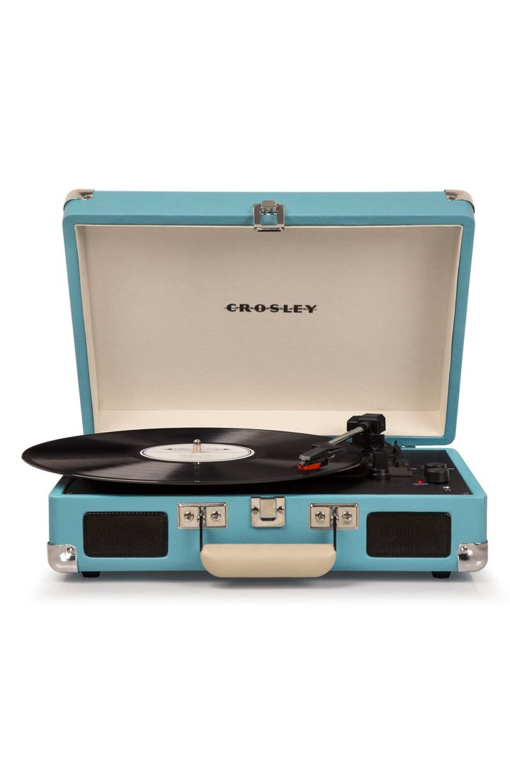 A classic portable turntable is updated for the digital age with built-in Bluetooth compatibility.