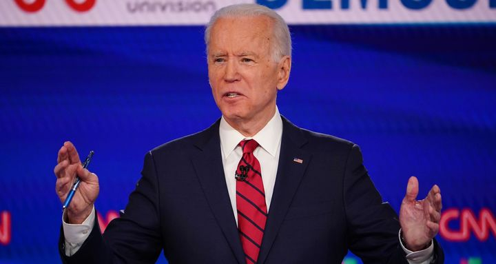 Democratic presidential hopeful former US vice president Joe Biden participates in the 11th Democratic Party 2020 presidential debate in a CNN Washington Bureau studio in Washington, D.C., on March 15, 2020.