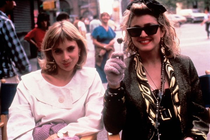 "Rosanna Arquette and Madonna on the set of ""Desperately Seeking Susan."""