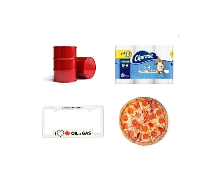 """These four items — a barrel of Alberta oil, a six-pack of toilet paper, a novelty """"I heart oil and gas"""" licence plate cover and a medium two-topping pizza — all cost around the same amount."""