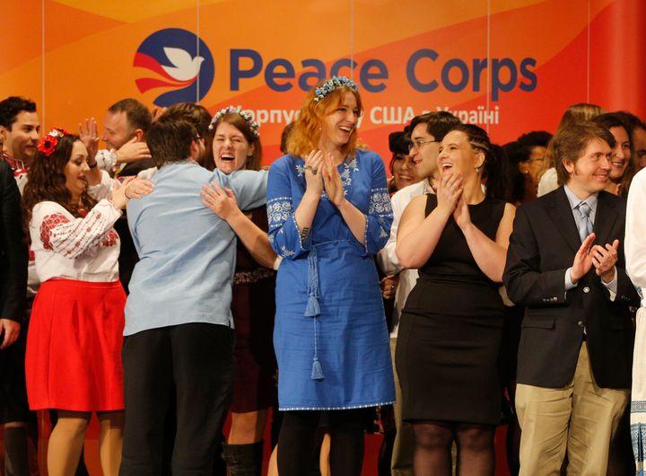 U.S. Peace Corps volunteers celebrate in Kyiv, Ukraine, in 2017. The growing coronavirus pandemic has caused the first suspen