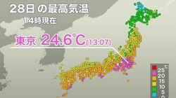 東京で今年最高気温を記録 29日は一転して真冬の寒さに…