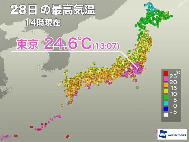 最高 今日 気温 東京 の