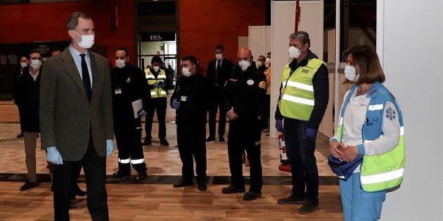 El rey Felipe VI visita IFEMA, donde se ha instalado un hospital para contagiados por