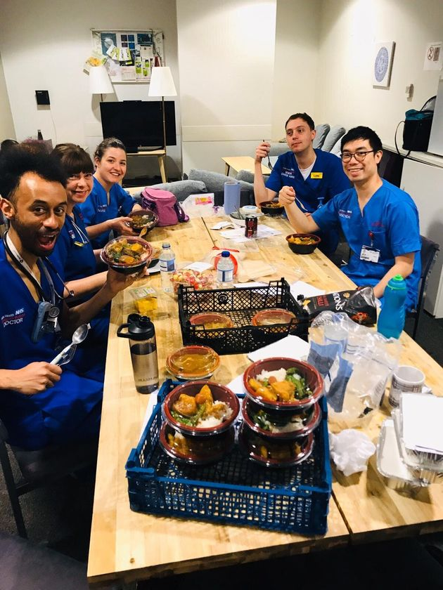 Staff at Royal London Hospital after a meal drop-off.