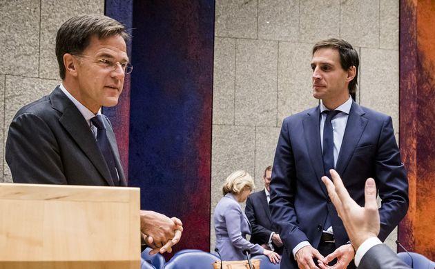 El primer ministro holandés, Mark Rutte, y el ministro de Finanzas, Wopke