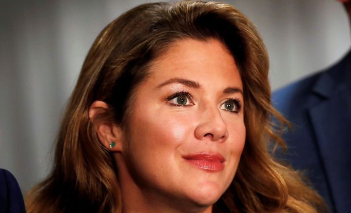"""Sophie Grégoire Trudeau appears at a rally for her husband, Prime Minister Justin Trudeau, on Oct. 11, 2019, in Burnaby, B.C.The mother of three says she has received a """"clear bill of health"""" after testing positive for COVID-19 on March 12."""