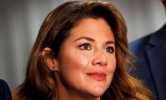 Sophie Grégoire Trudeau appears at a rally for her husband, Prime Minister Justin Trudeau, on...