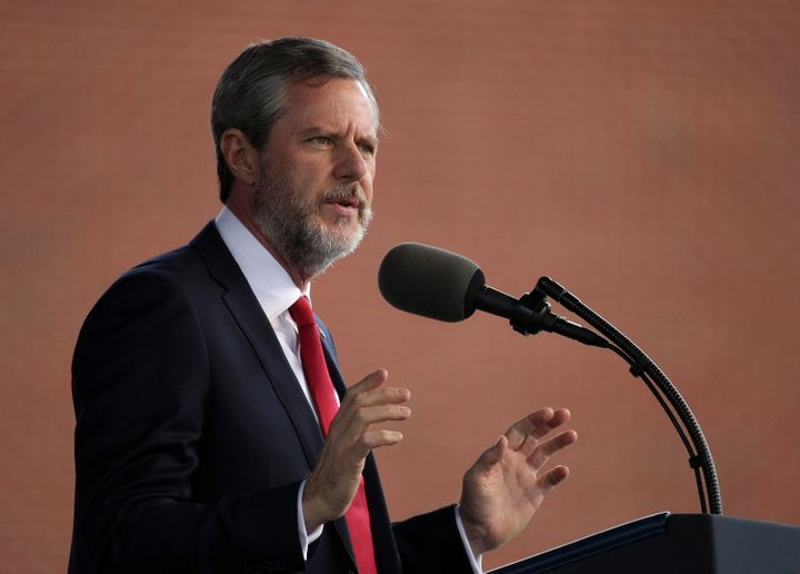 Jerry Falwell, the president of Liberty University, speaks during the school's commencement ceremony in 2017.