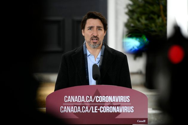 Prime Minister Justin Trudeau speaks during his daily press conference on COVID-19, in front of his residence...