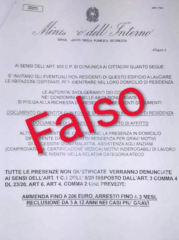 """Polizia di Stato - Volantino falso scritto su carta intestata del """"Ministero dell'Interno-Dipartimento..."""