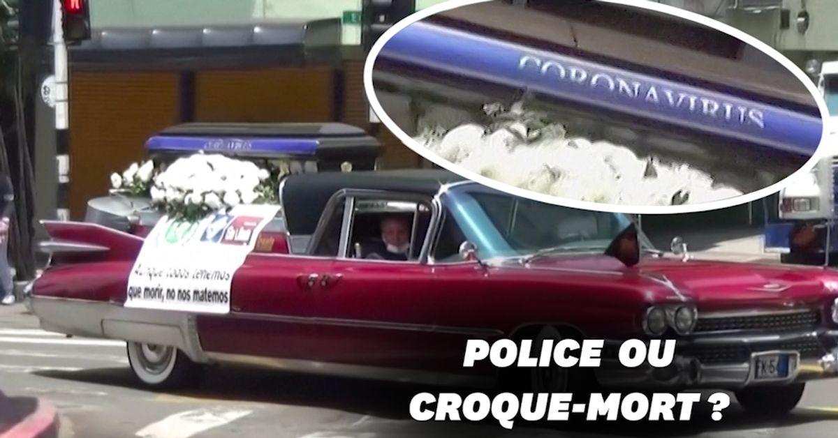 Pour inciter les Colombiens à respecter le confinement, la police se déplace... en corbillard !