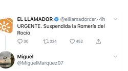 La respuesta a este tuit de Canal Sur sobre la Romería del Rocío que es todo un fenómeno en