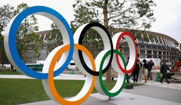 Imagen de archivo de los aros olímpicos en