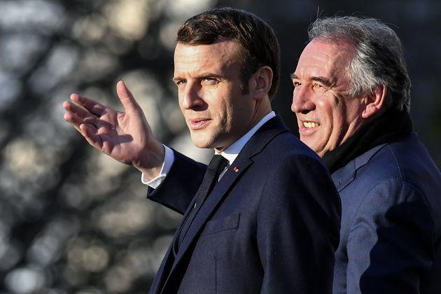 Emmanuel Macron et François Bayrou à Pau le 13