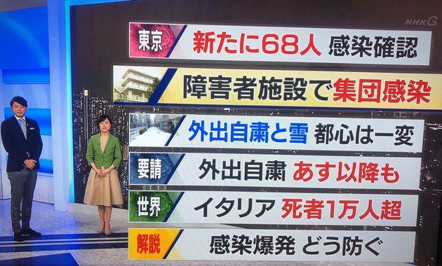NHKでは、普段よりキャスターが距離を取っているとアピールしていた=3月29日、NHKニュース7