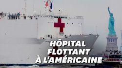 Les images de l'impressionnant navire-hôpital de 1000 lits débarquant à New