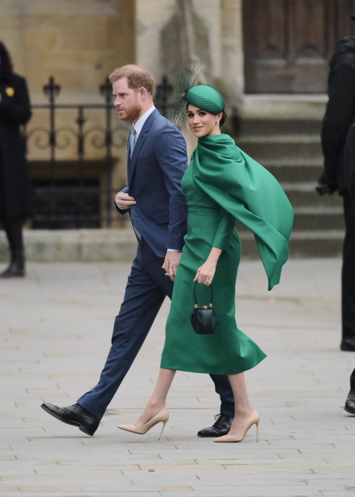 The Duke and Duchess of Sussex attend the Commonwealth Day service at Westminster Abbey on March 9 in London.